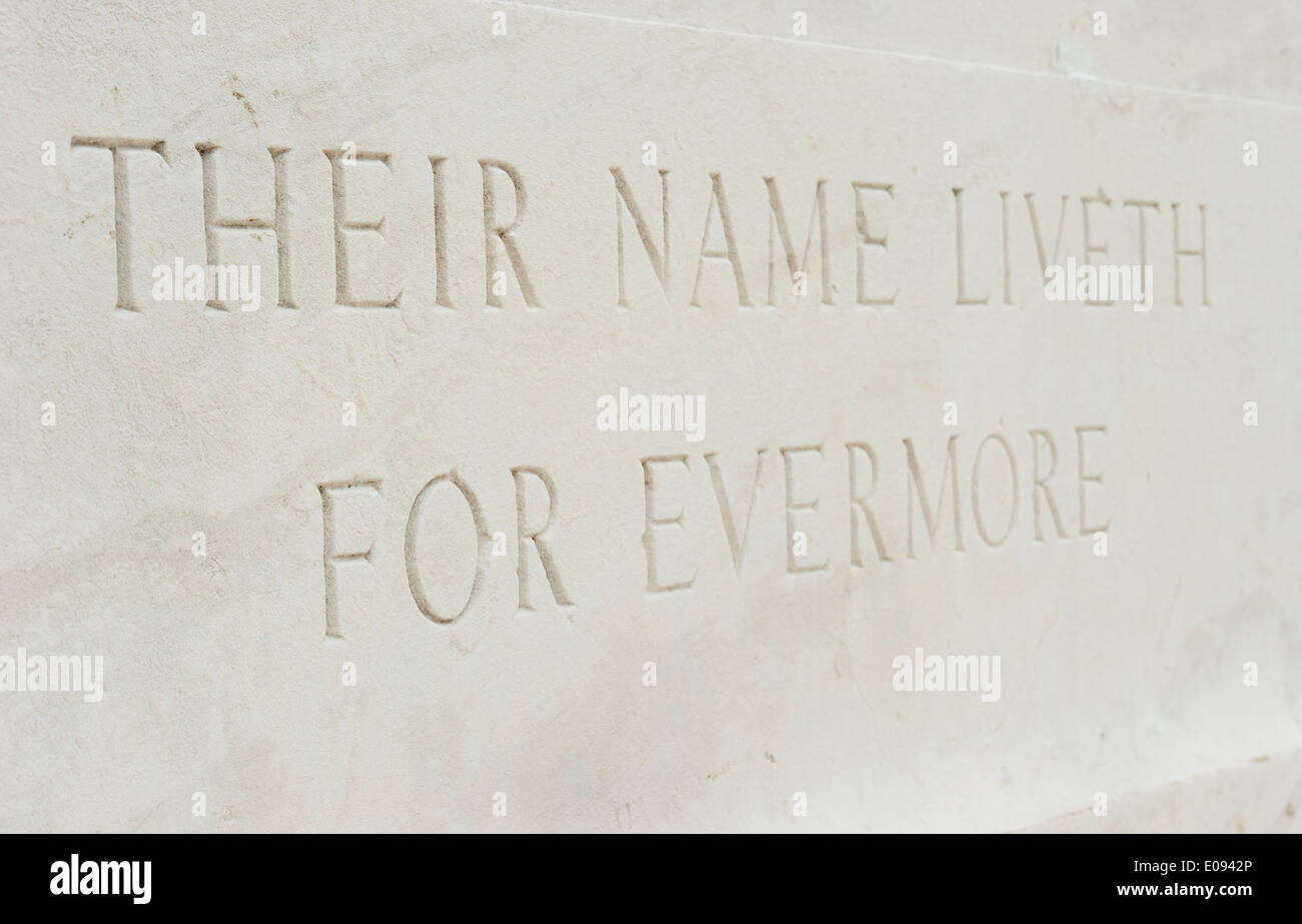 wording on war memorial, their name liveth for evermore Stock Photo