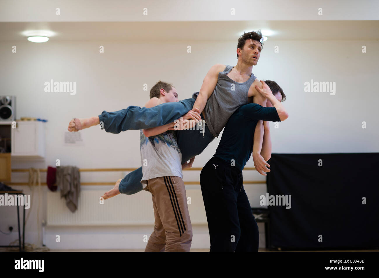 Three male Dancers rehearsing 'My People' by welsh choreographer GWYN EMBERTON at Aberystwyth Arts Centre Wales UK - Stock Image