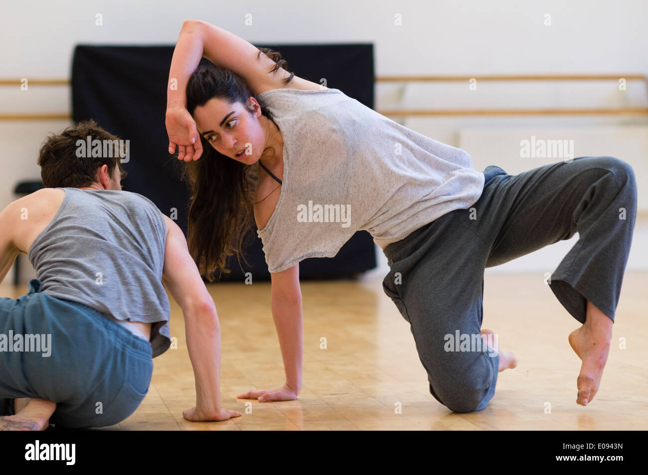 Dancers rehearsing 'My People' by welsh choreographer GWYN EMBERTON at Aberystwyth Arts Centre Wales UK - Stock Image