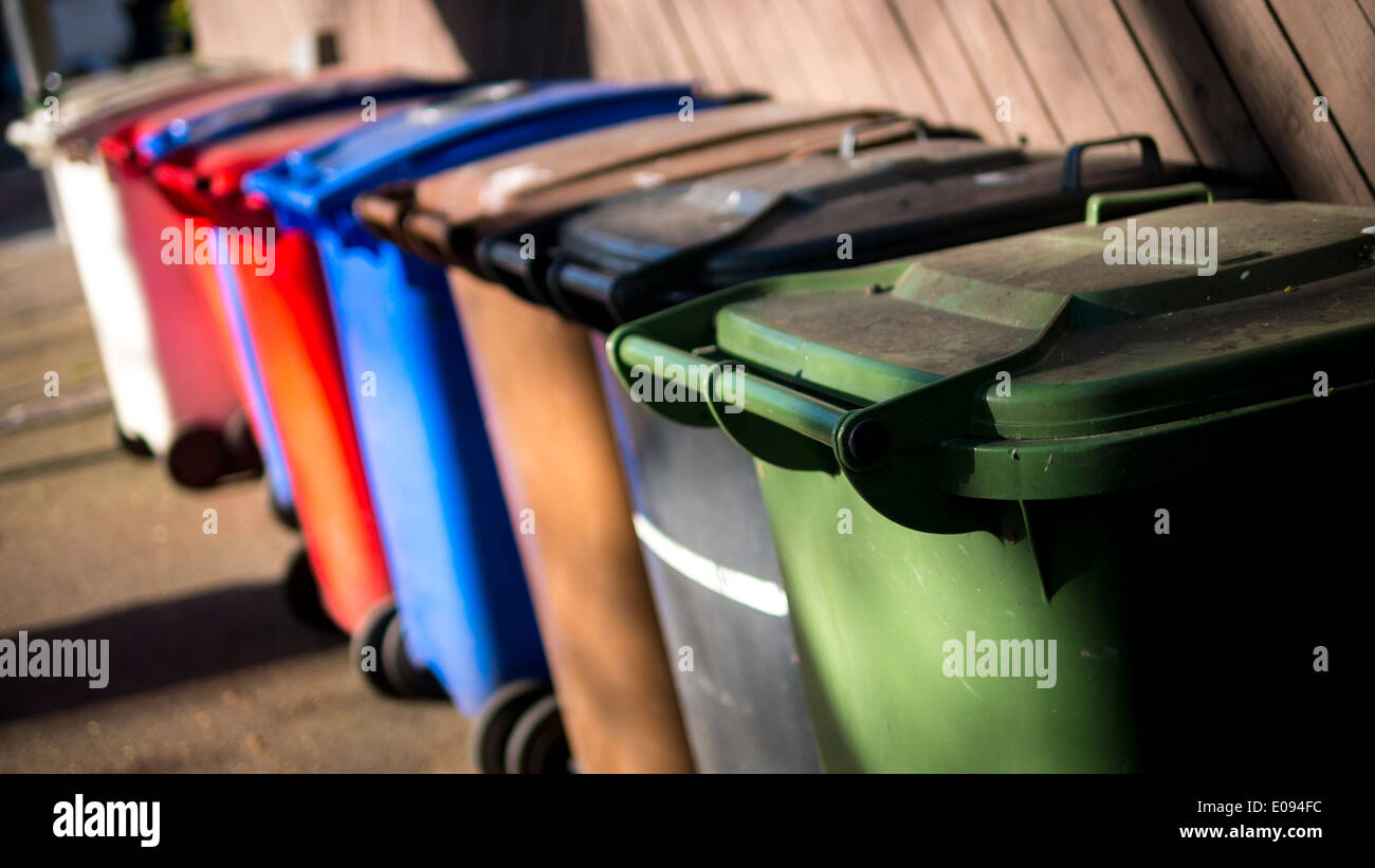 Wheelie Bins for Recycling Rubbish. Stock Photo