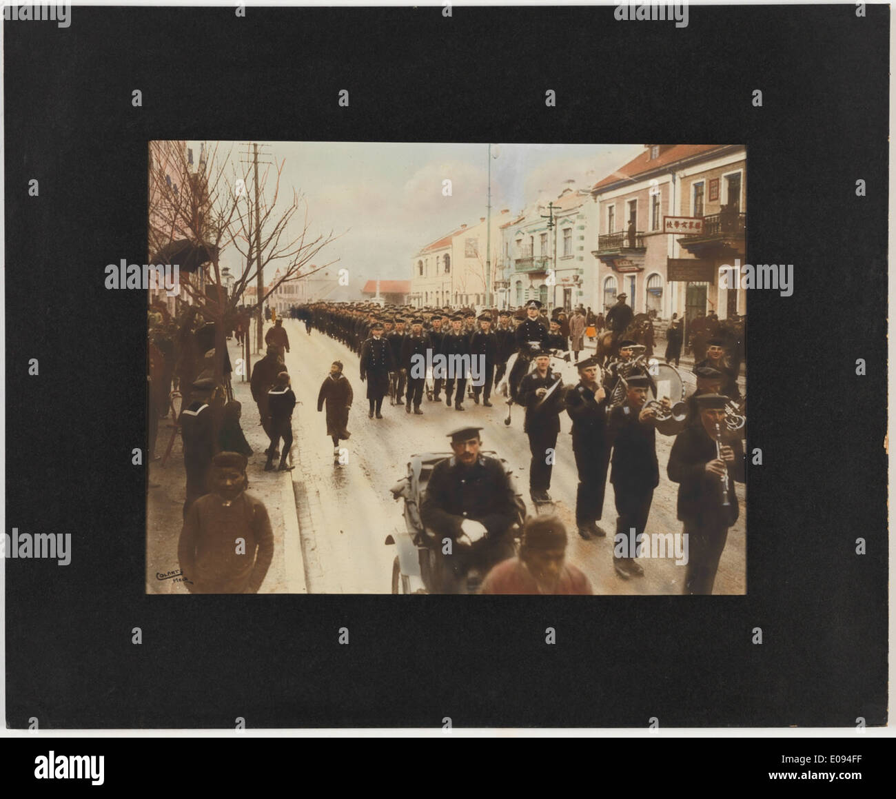 German sailors marching throughTsing-Tau, China shortly after the outbreak of war Stock Photo
