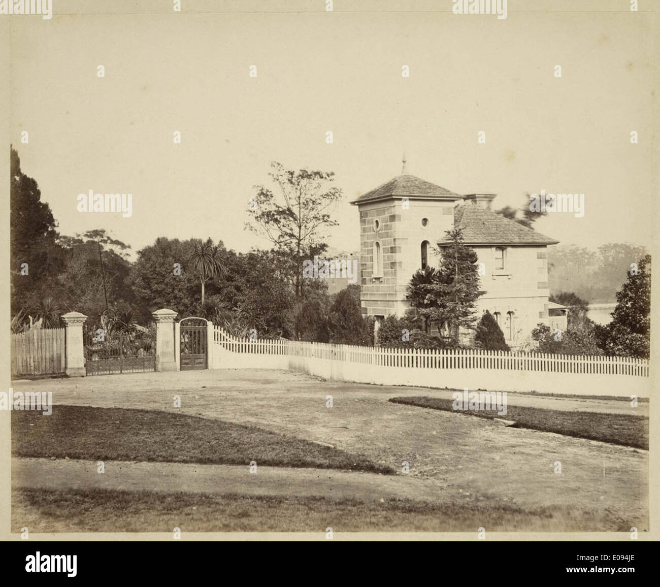 Gatehouse at Botanical Gardens, c. 1879, by Tronier Artist Photographer Stock Photo