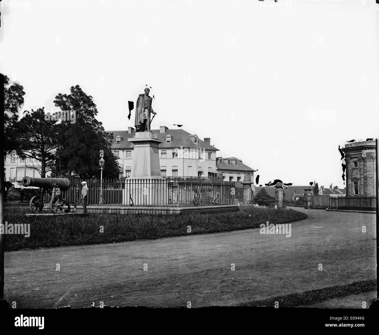 Governor Bourke's Statue at the entrance to the Botanical Gardens, Sydney, 1870-1875, The American & Australasian Stock Photo