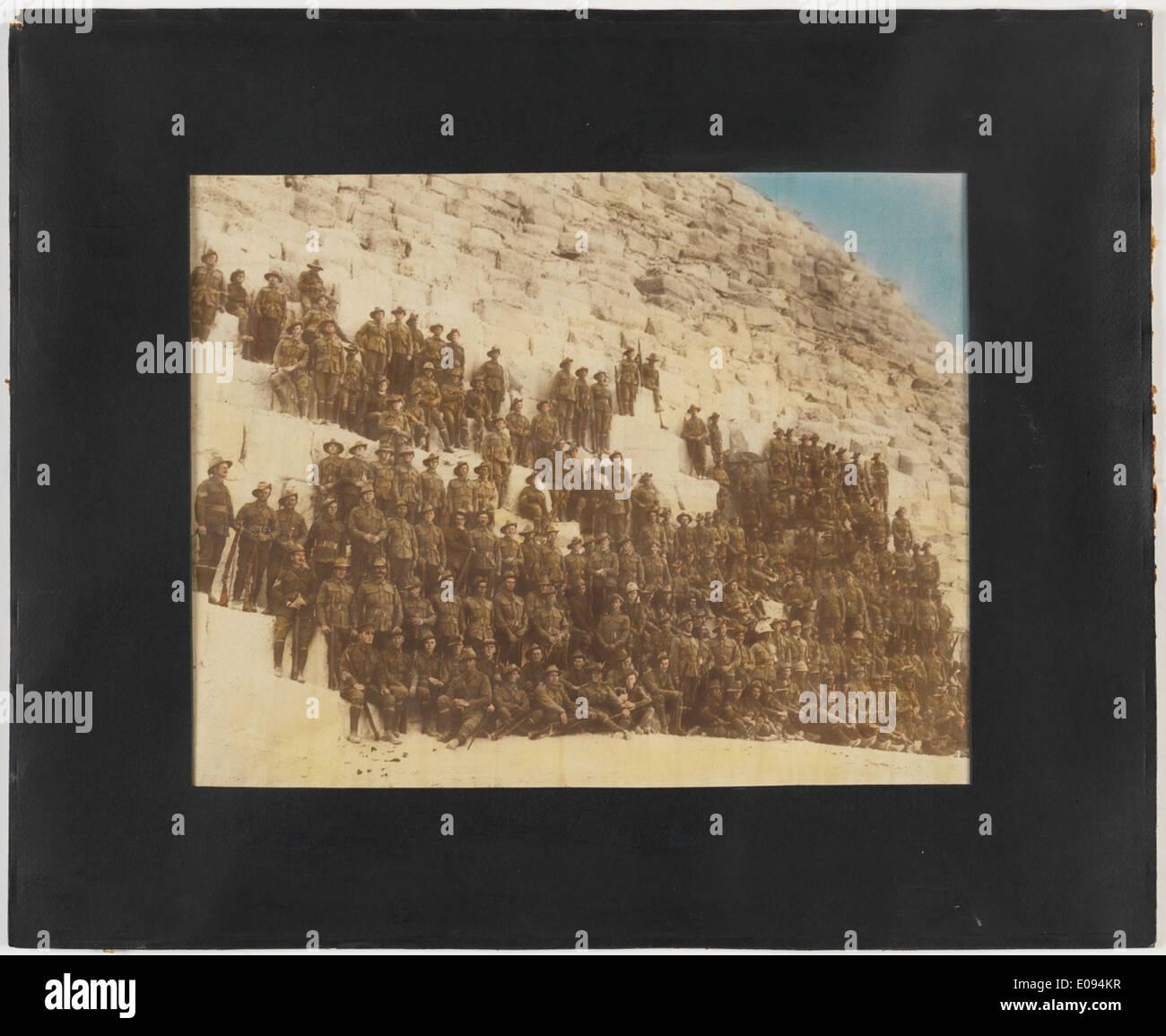 Australian troops on pyramid Stock Photo