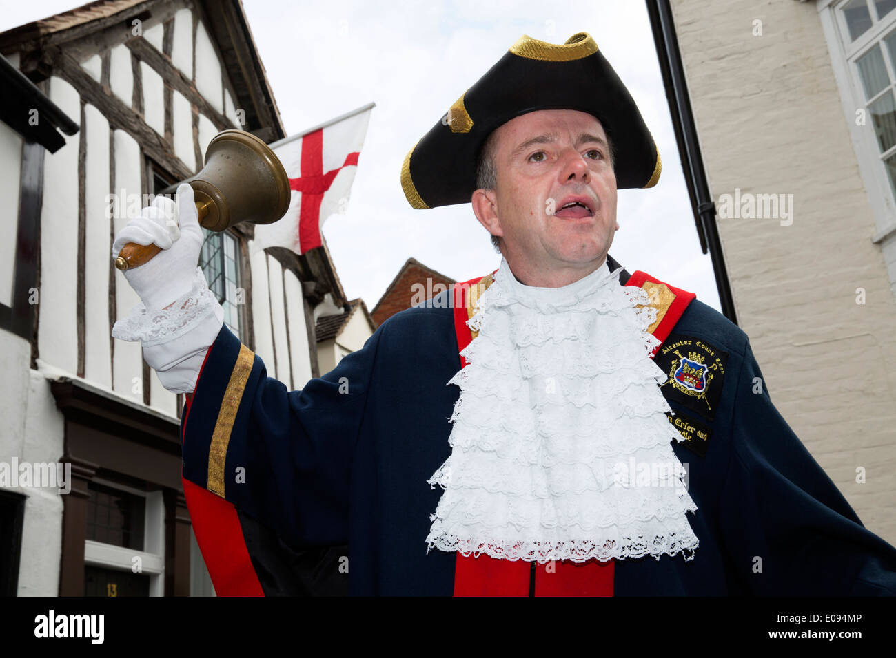 Alcester Town Crier David Parkes taking part in the St George's Day Parade - Stock Image