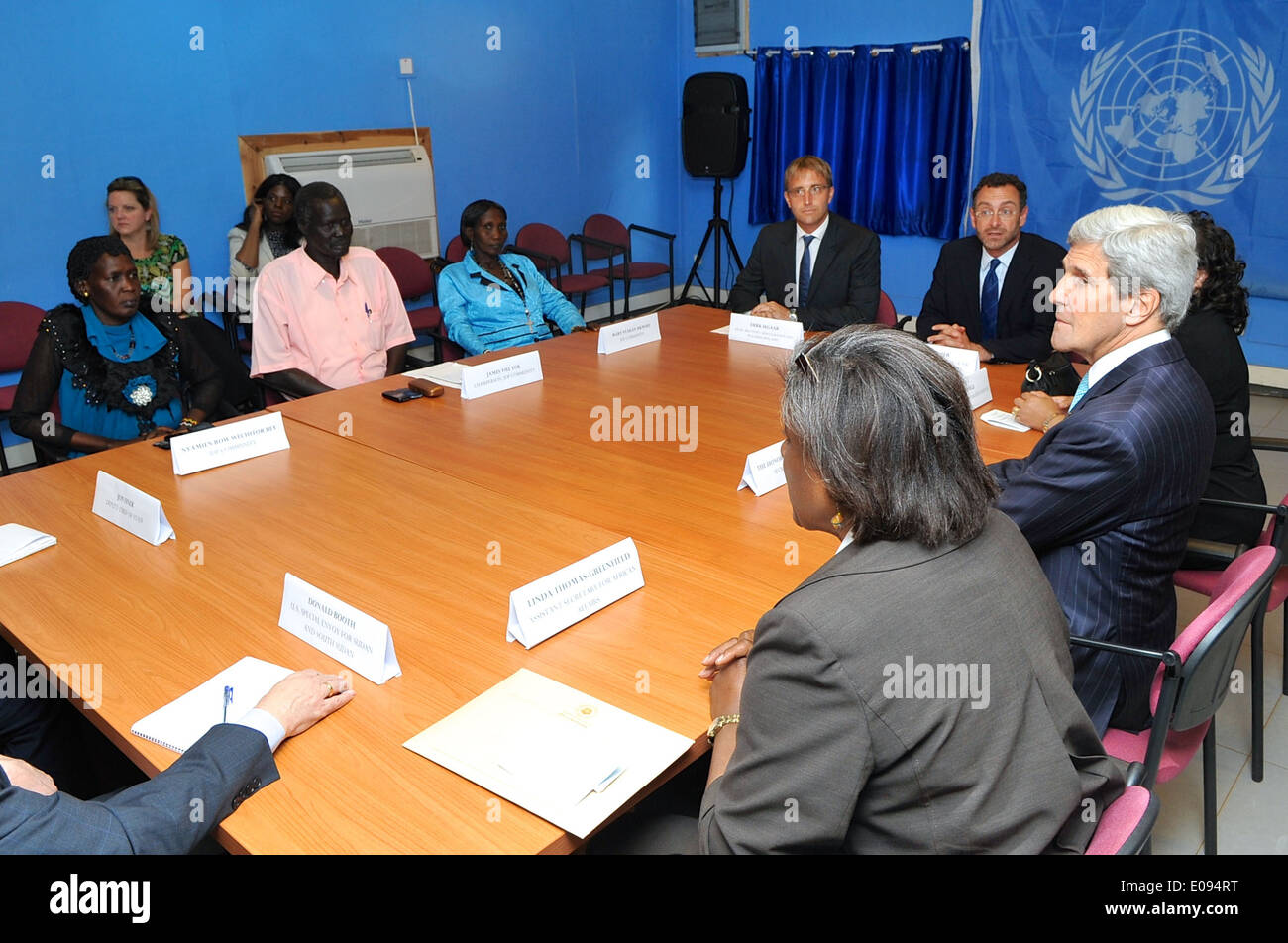 Secretary Kerry Meets With Residents Displaced By Sudanese Civil War - Stock Image