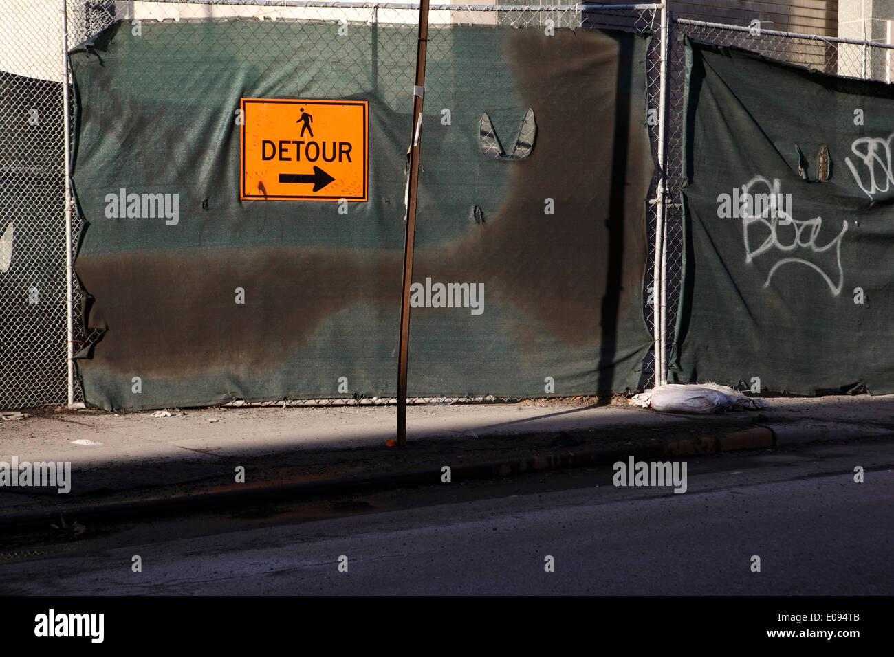 pedestrian detour traffic sign - Stock Image