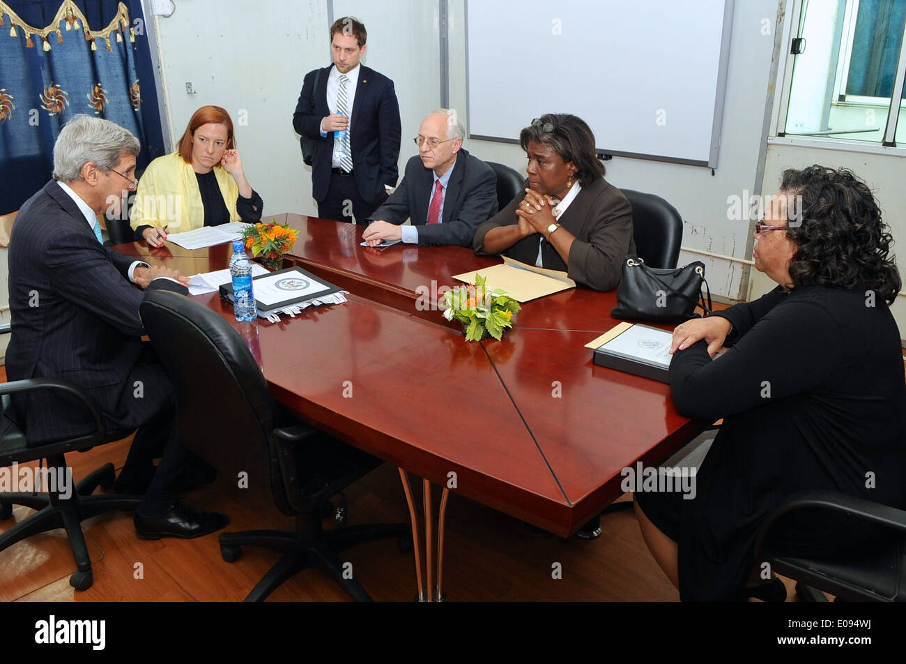 Secretary Kerry Meets With Senior Advisers Before News Conference in Juba - Stock Image
