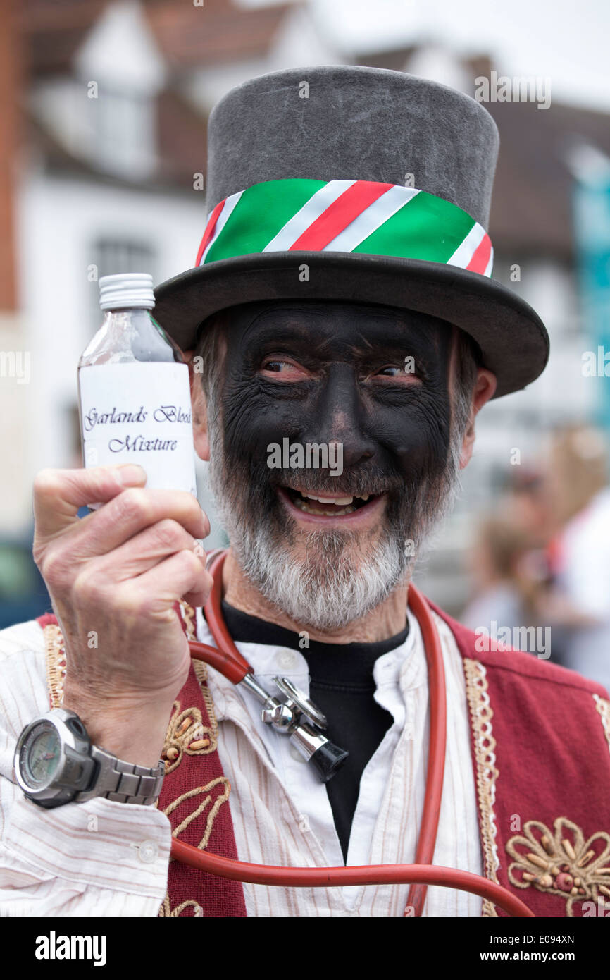 The Shakespeare Mummers taking part in the St George's Day parade in Alcester, Warwickshire. Pictured, Mick Dunn. - Stock Image