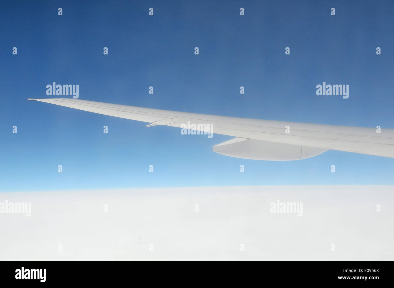 Airplane wing in blue sky - Stock Image