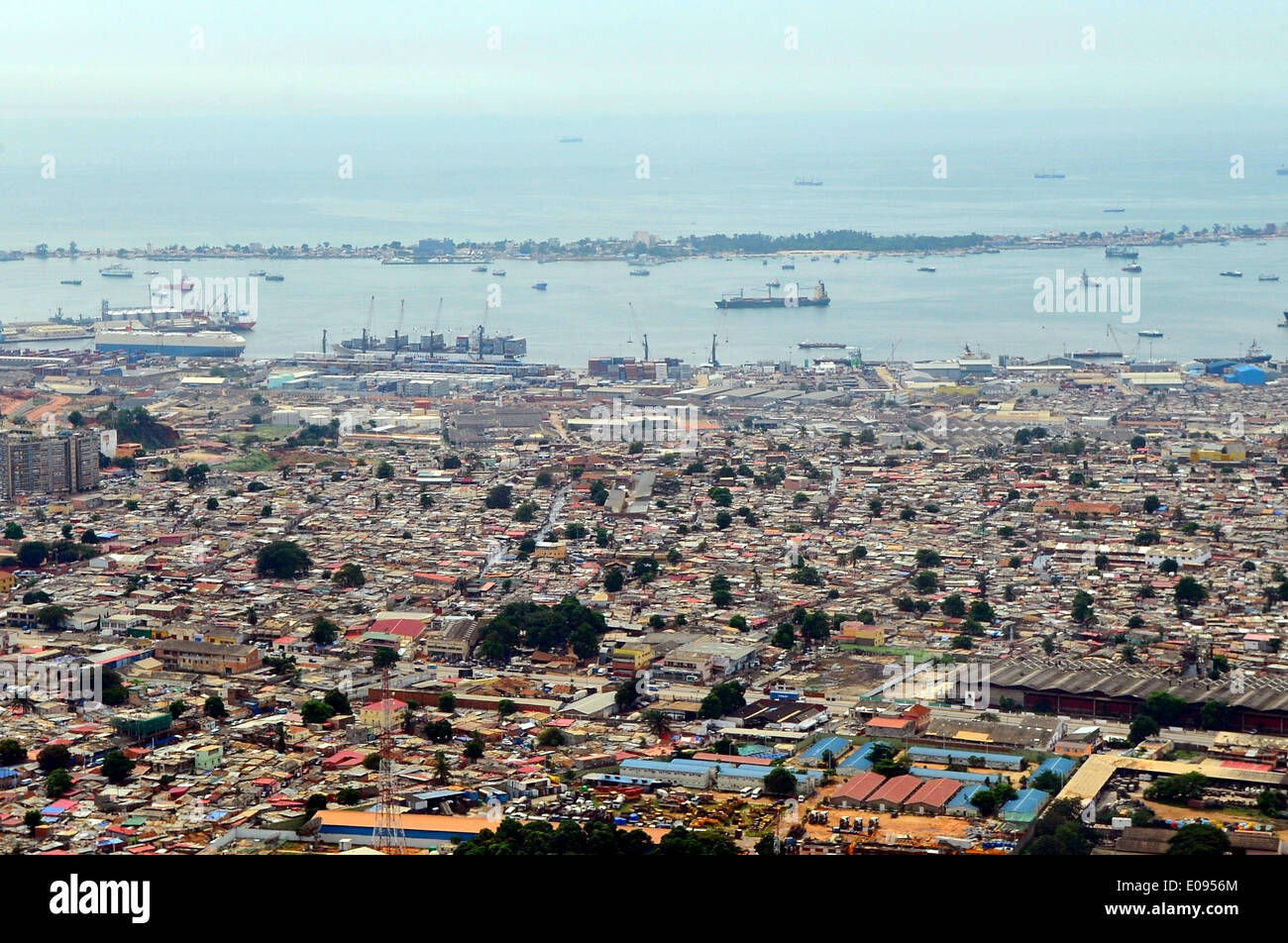 Port of Luanda Seen From Secretary Kerry's Plane Upon Arrival in Angola - Stock Image