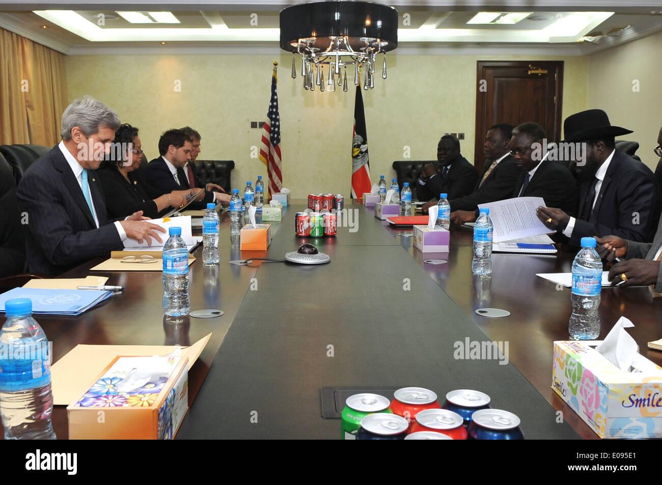 Secretary Kerry, South Sudanese President Kiir Prepare for Meeting in Juba - Stock Image