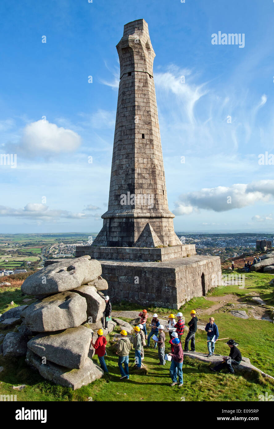a school filed trip at carn brea in cornwall, uk - Stock Image