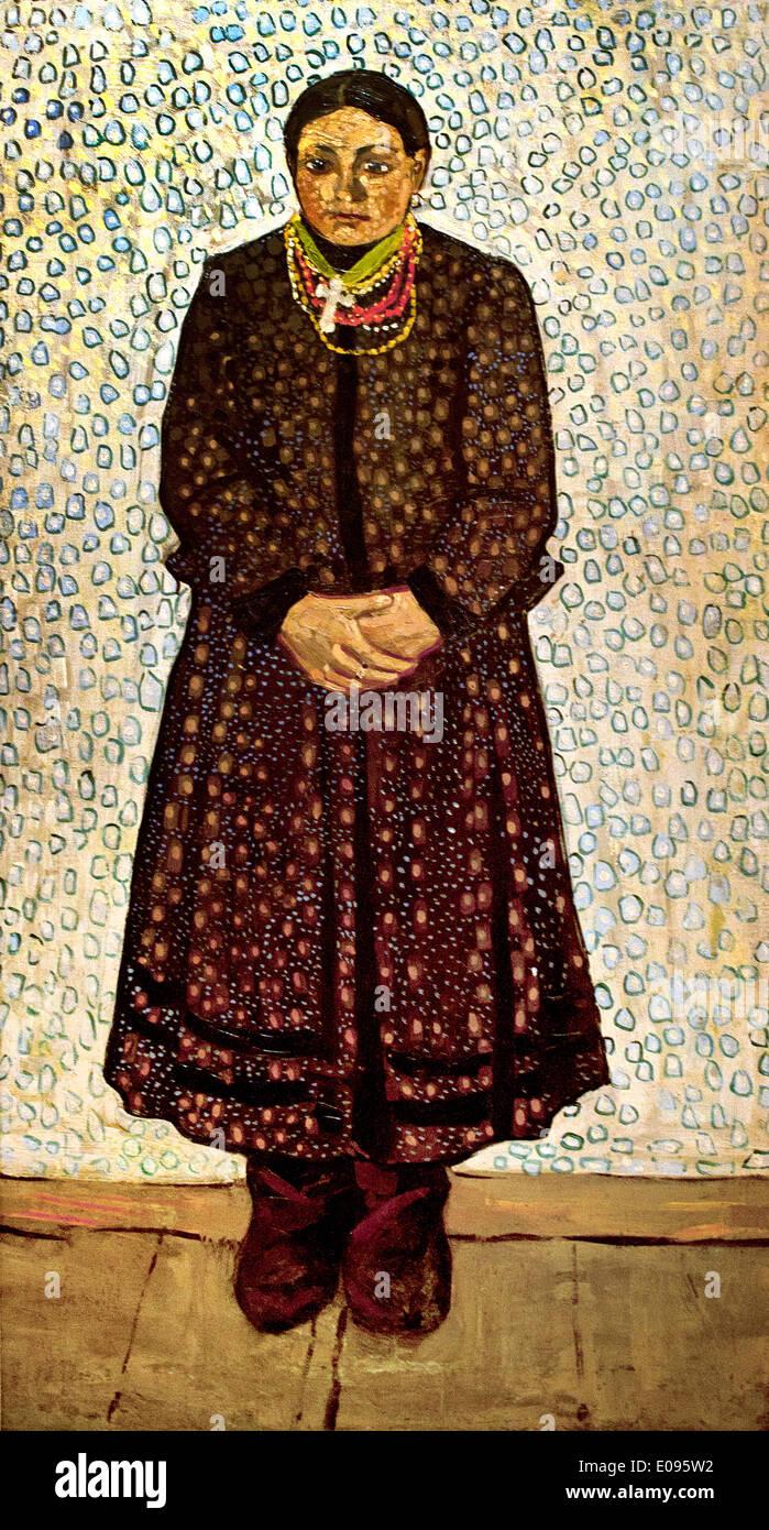 Ukrainian Peasant Woman 1910-11 Vladimir Burliuk  1886-1917 Ukrainian Ukraine - Stock Image