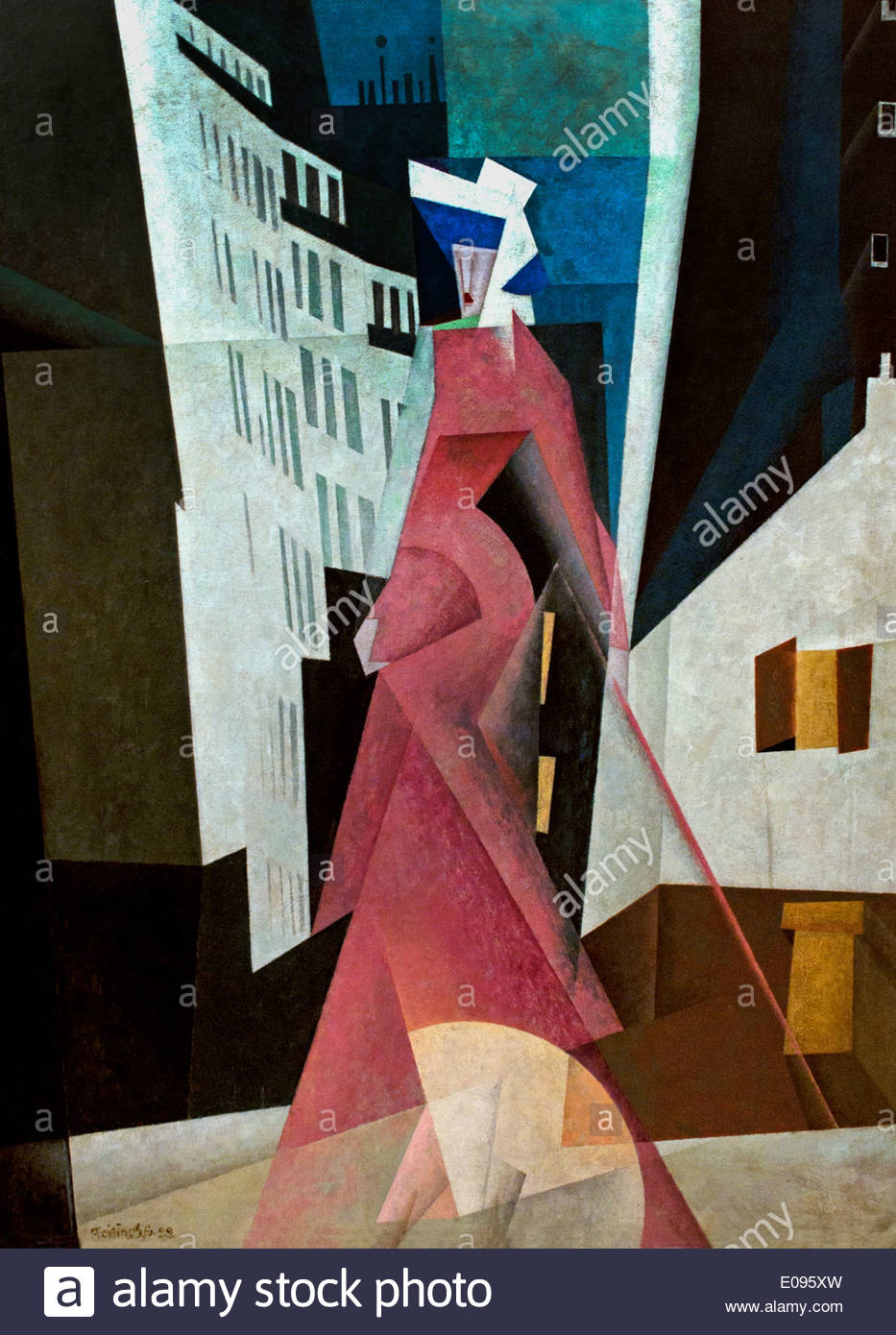 The Lady in Mauve 1922 by Lyonel Feininger German American Painter - Stock Image
