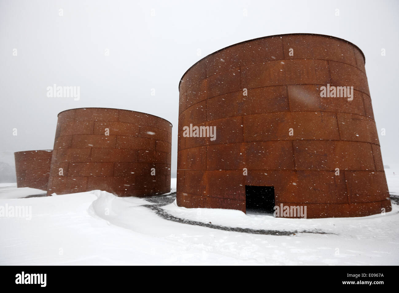 rusting old whale oil storage tanks at whalers bay deception island Antarctica - Stock Image