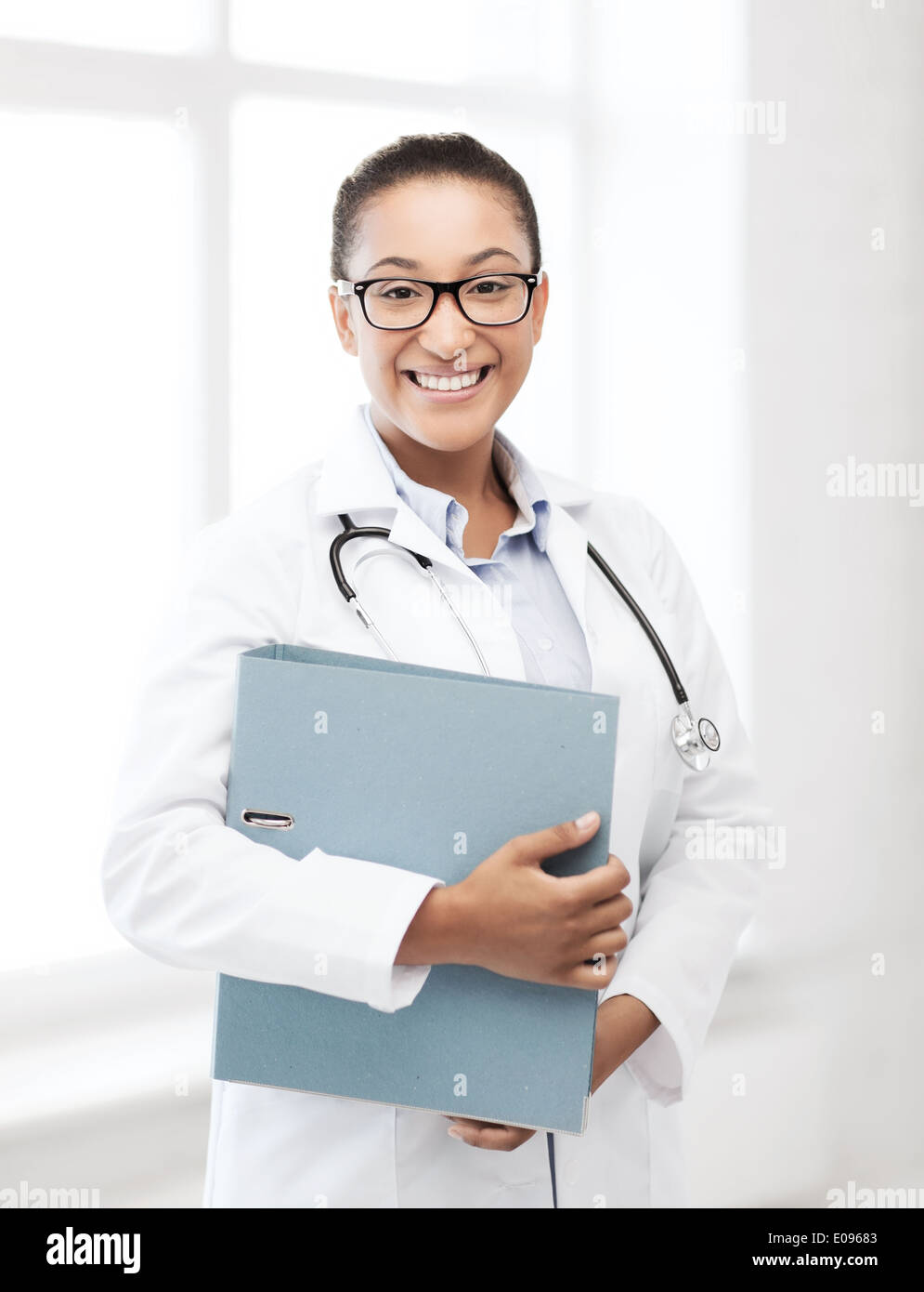 african female doctor in hospital Stock Photo