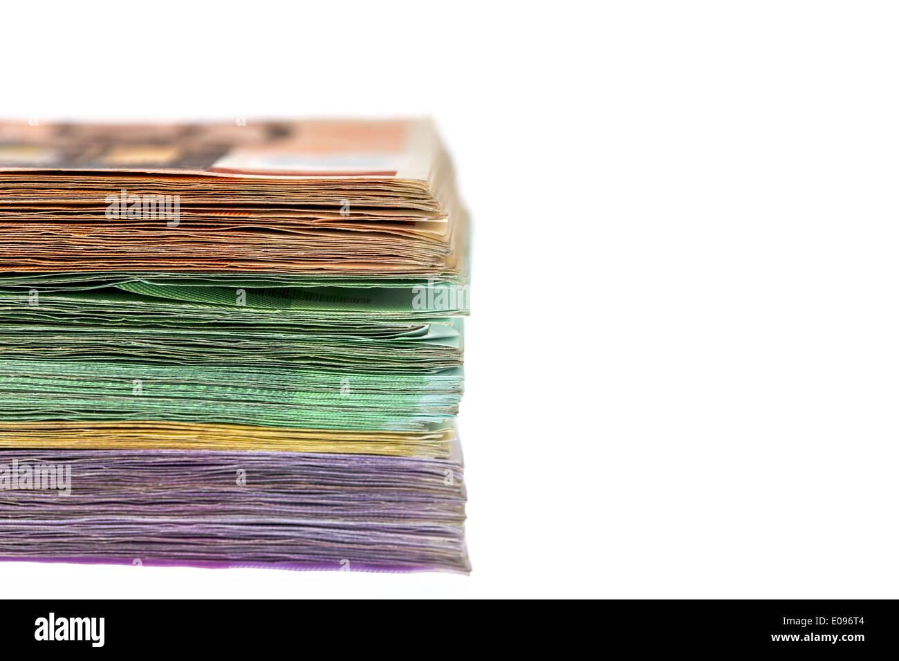 A lot of different euro of bank notes. Symbolic photo fue wealth and investment, Viele verschiedene Euro Geldscheine. Stock Photo