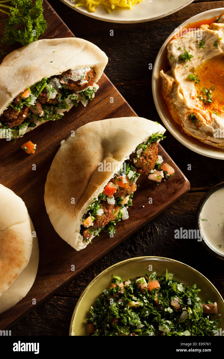 Healthy Vegetarian Falafel Pita with Rice and Salad Stock Photo
