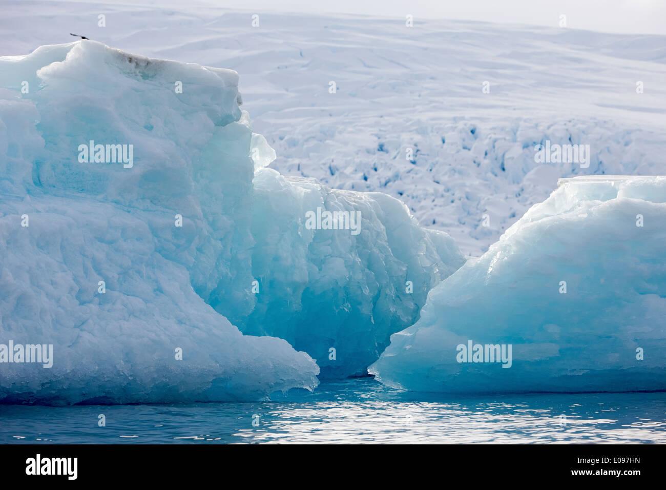 melting blue ancient old ice icebergs cierva cove Antarctica - Stock Image