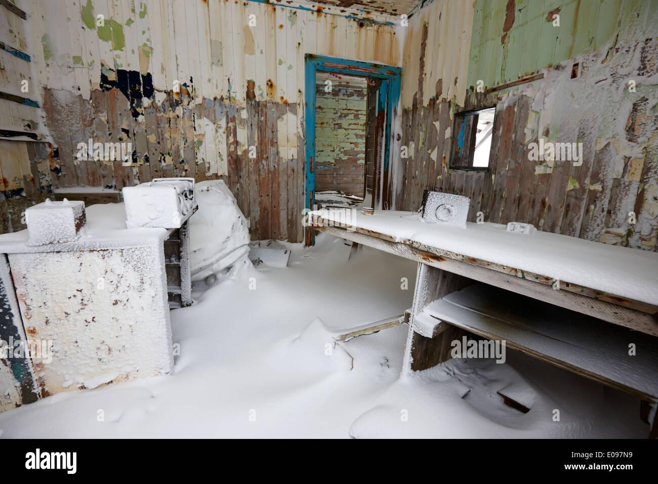 interior of biscoe house former norwegian aktieselskabet hektor whaling station whalers bay deception island Antarctica - Stock Image