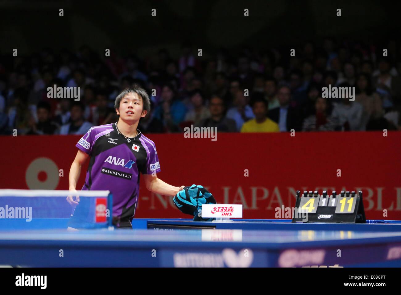Koki Niwa (JPN), MAY 4, 2014 - Table Tennis : 2014 World Team Table Tennis Championships Men's semi final match between Germany 3-1 Japan at 1st Yoyogi Gymnasium, Tokyo, Japan. (Photo by Yusuke Nakanishi/AFLO SPORT) - Stock Image