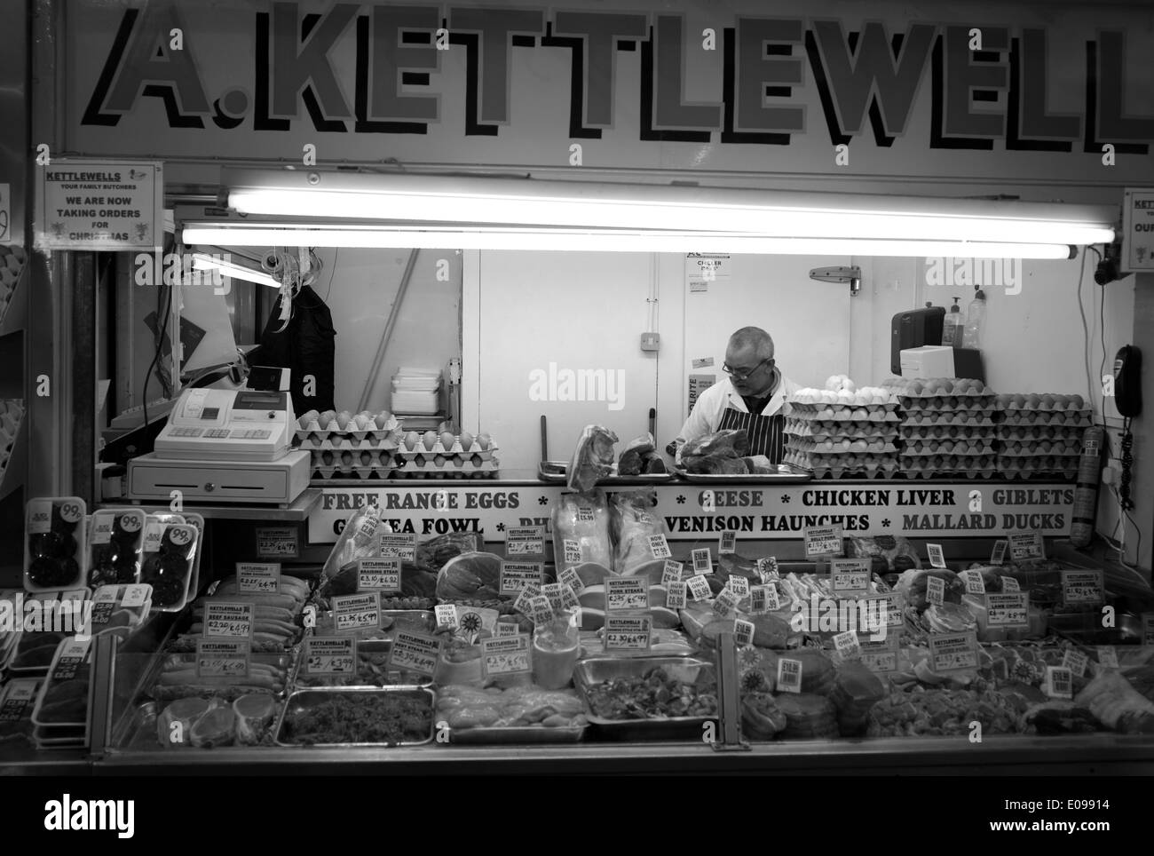 Butchers shop  in the Grainger market, Newcastle-upon-Tyne, Tyne and Wear - Stock Image