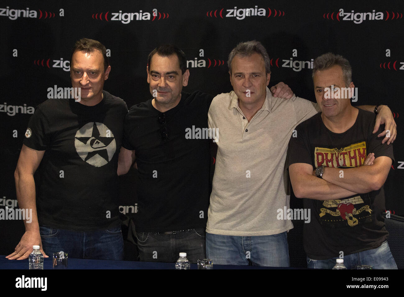 Mexico City, Mexico. 6th May, 2014. Dani Mezquita, Javi Molina, David Summers and Rafa Gutierrez(From L to R) from Spanich pop-rock group Hombres G participate in a press conference to announce their upcoming concert tour, in Mexico City, capital of Mexico, on May 6, 2014. Hombres G group will realize a concert tour along 8 cities in Mexico. © Alejandro Ayala/Xinhua/Alamy Live News - Stock Image