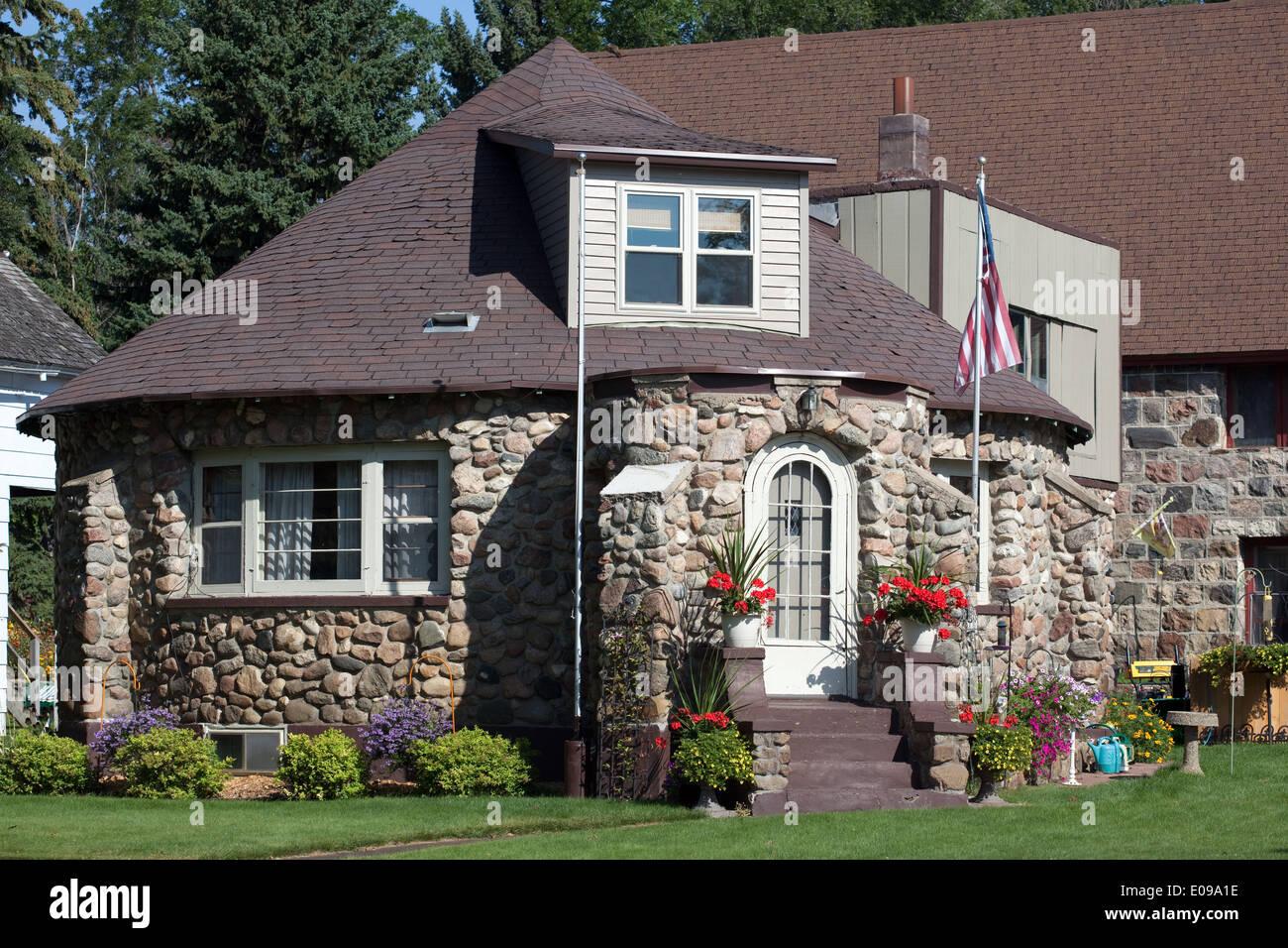 A round fieldstone house in Rugby, North Dakota Stock Photo