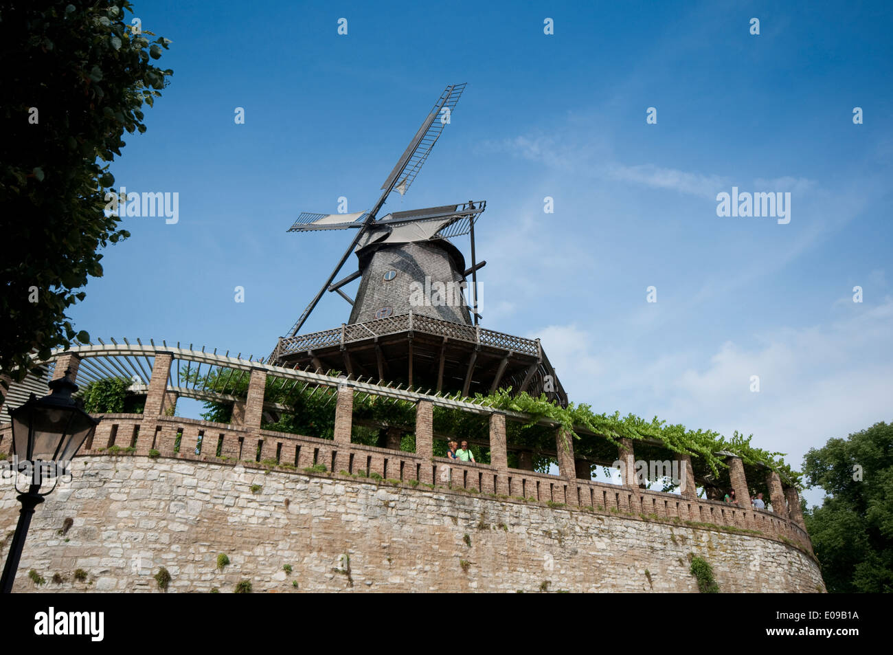 Germany, Brandenburg, Potsdam, Historic Wooden Windmill - Stock Image