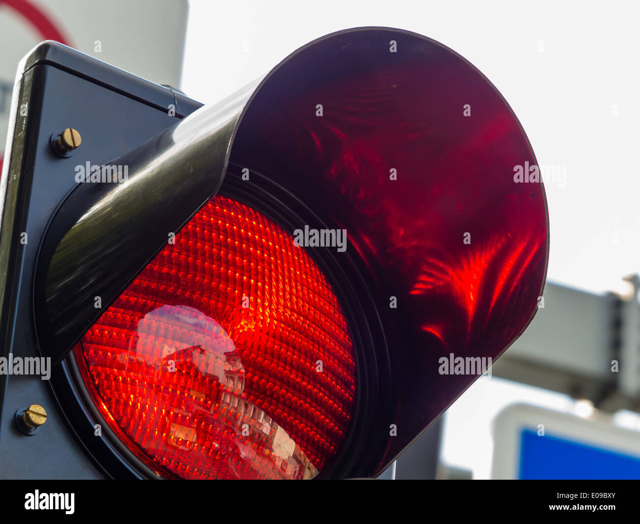 On a traffic light there shines the red light. - Stock Image