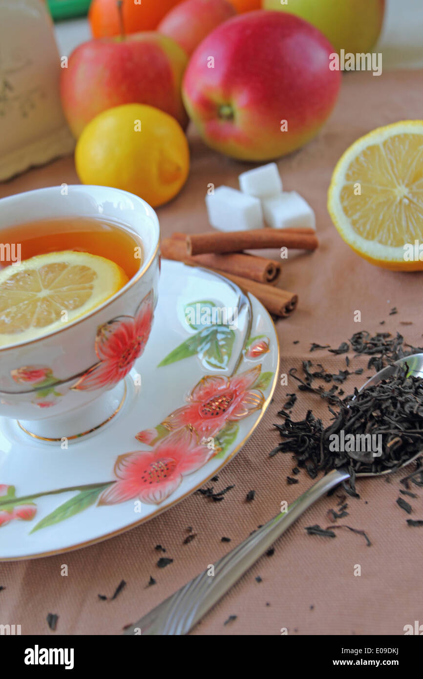 Tea cup with lemon - Stock Image