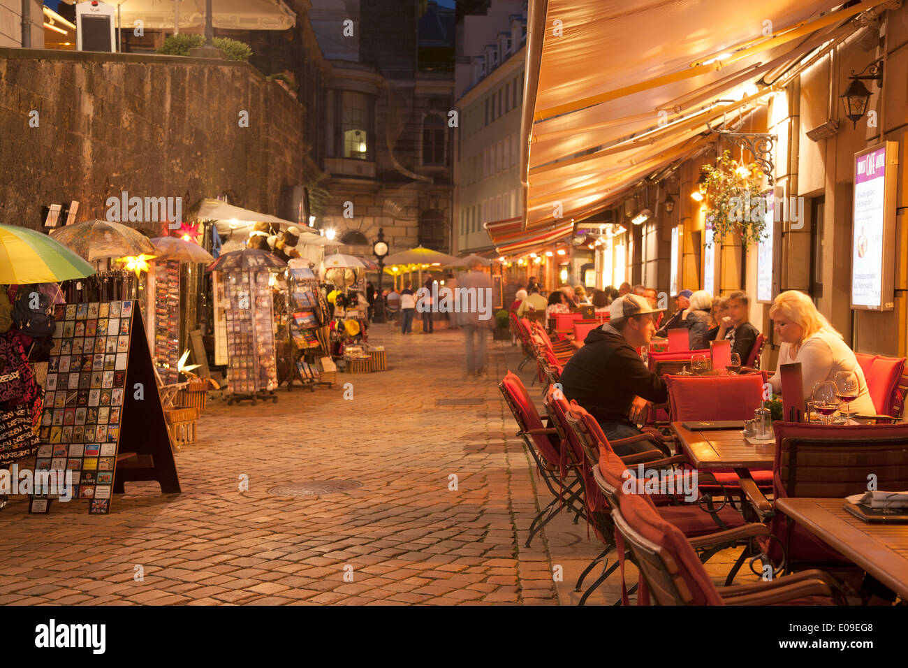 Terrassengasse Street; Dresden; Saxony; Germany; Illuminate at Night ...