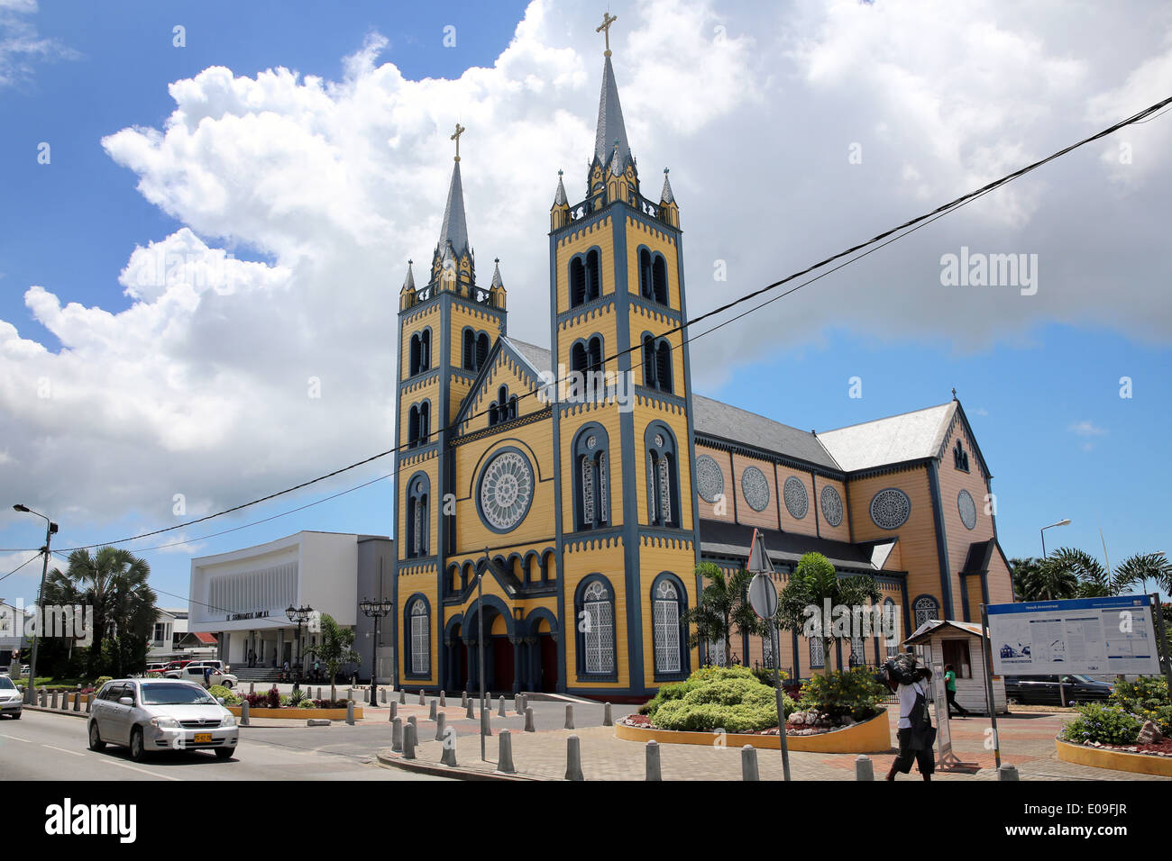 wooden Saint Peter and Paul Cathedral in the Gravenstraat, Paramaribo, capital of Suriname, Latin America - Stock Image