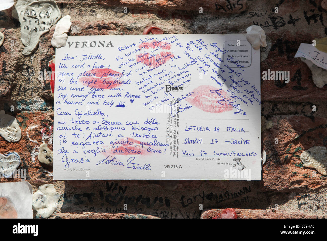 Letter to Juliet, Verona, Italy - Stock Image