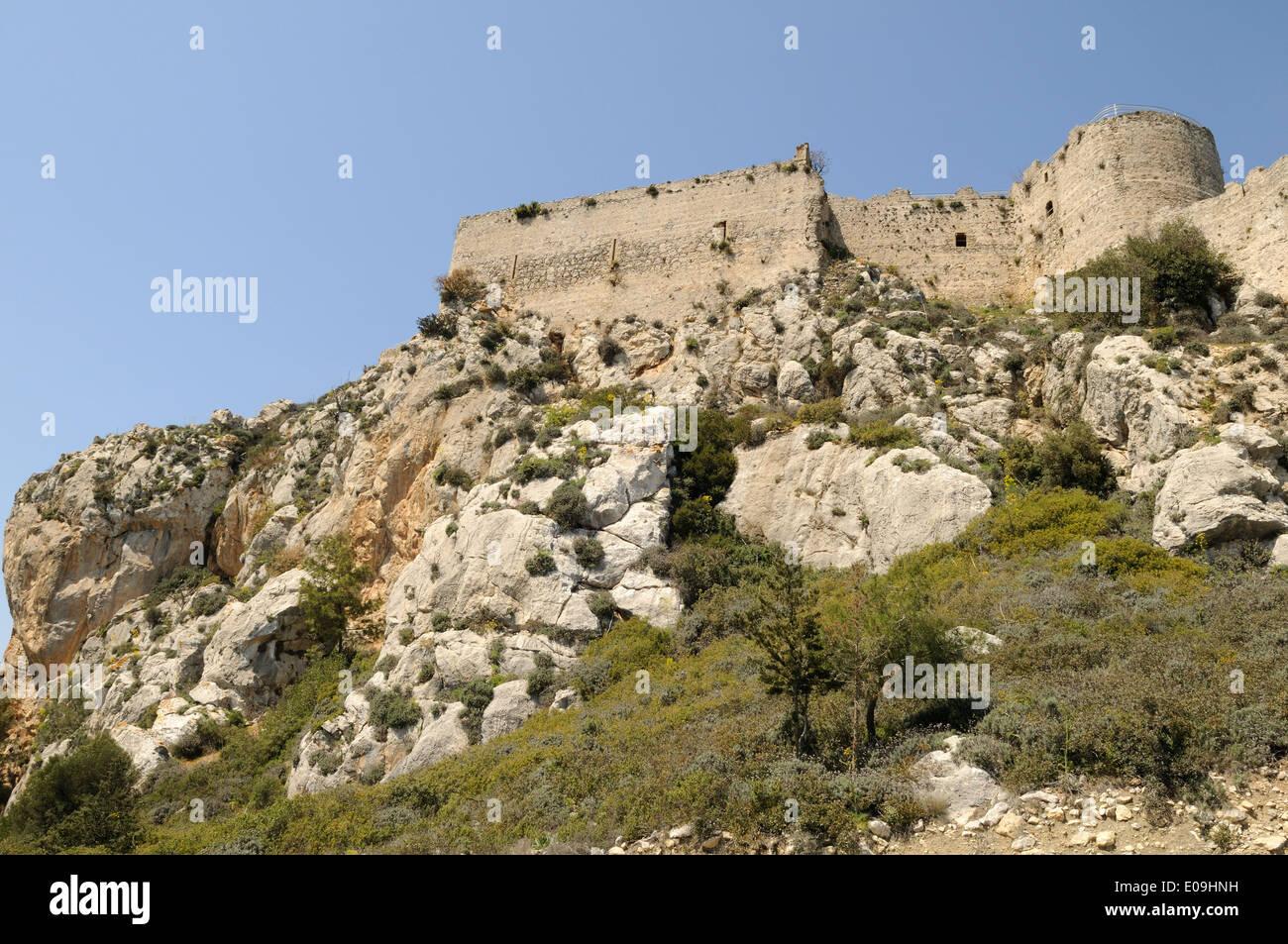 Crusader Castle of Kantara near Iskele North Cyprus - Stock Image
