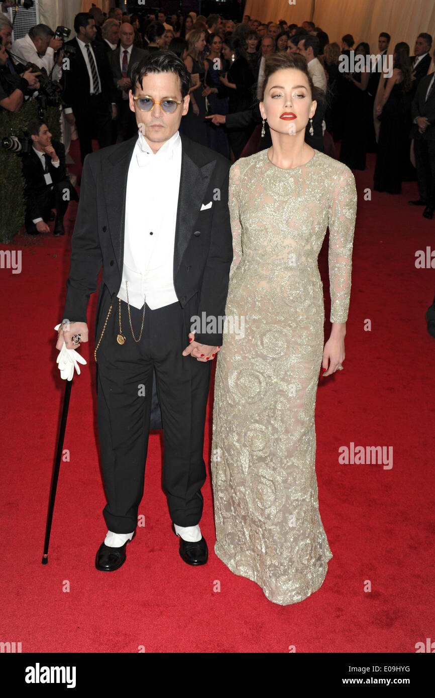 Johnny Depp and Amber Heard attend the 'Charles James: Beyond Fashion' Costume Institute Gala held at the Metropolitan Museum of Art on May 5, 2014 in New York City/picture alliance - Stock Image