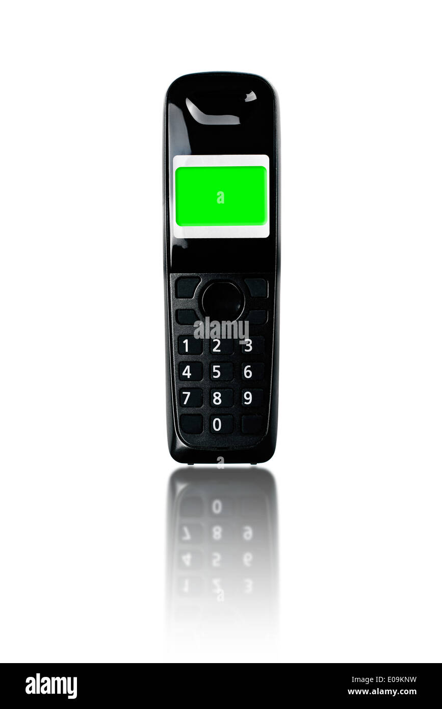 Wireless phone. Cordless phone with green screen display and reflection on white background. - Stock Image