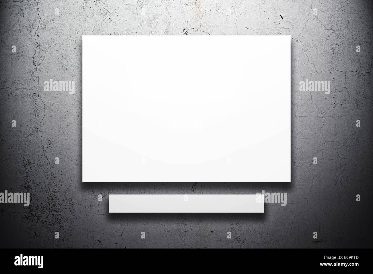 Poster hanging on the art gallery wall. Paper size matches the international A1 format with horizontal orientation. - Stock Image