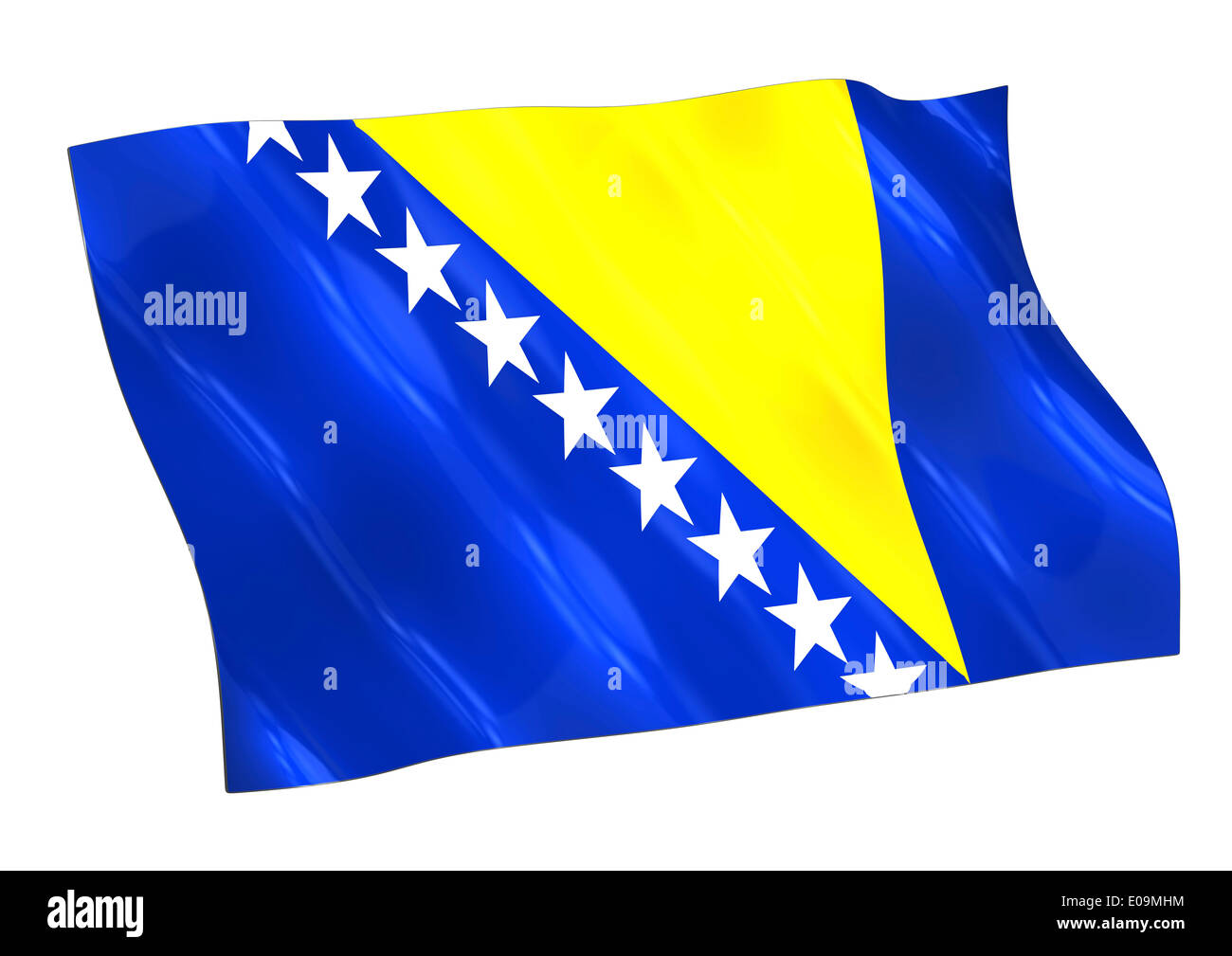 Illustration, Flag of Bosnia and Herzegowina - Stock Image
