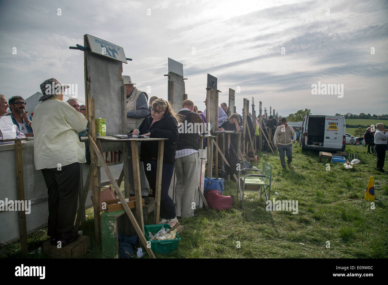 Behind bookies boards point to point bookmakers - Stock Image