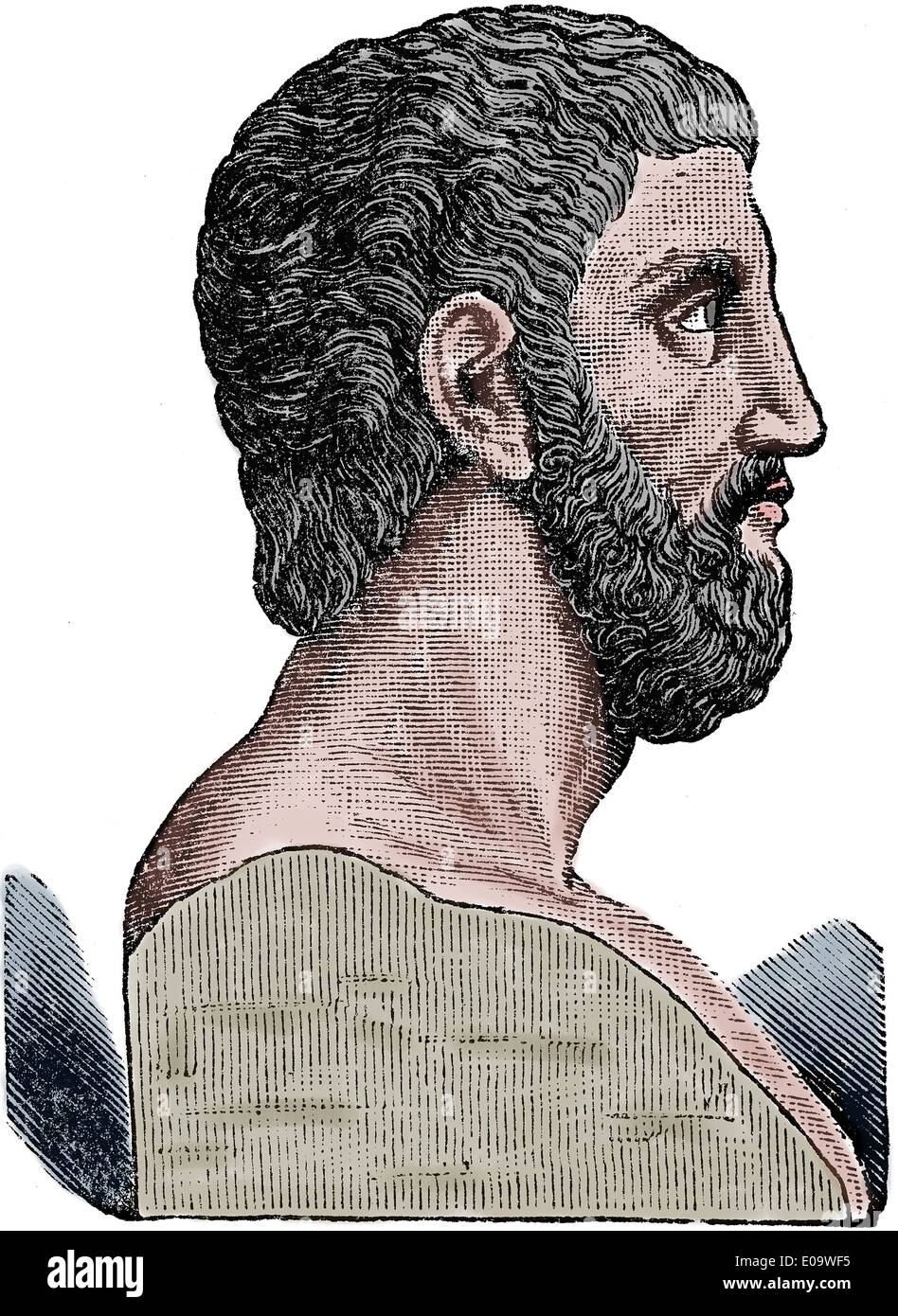 Alcibiades, son of Cleinias (450-404 BC). Athenian statesman, orator and general. Engraving. Portrait. Color - Stock Image