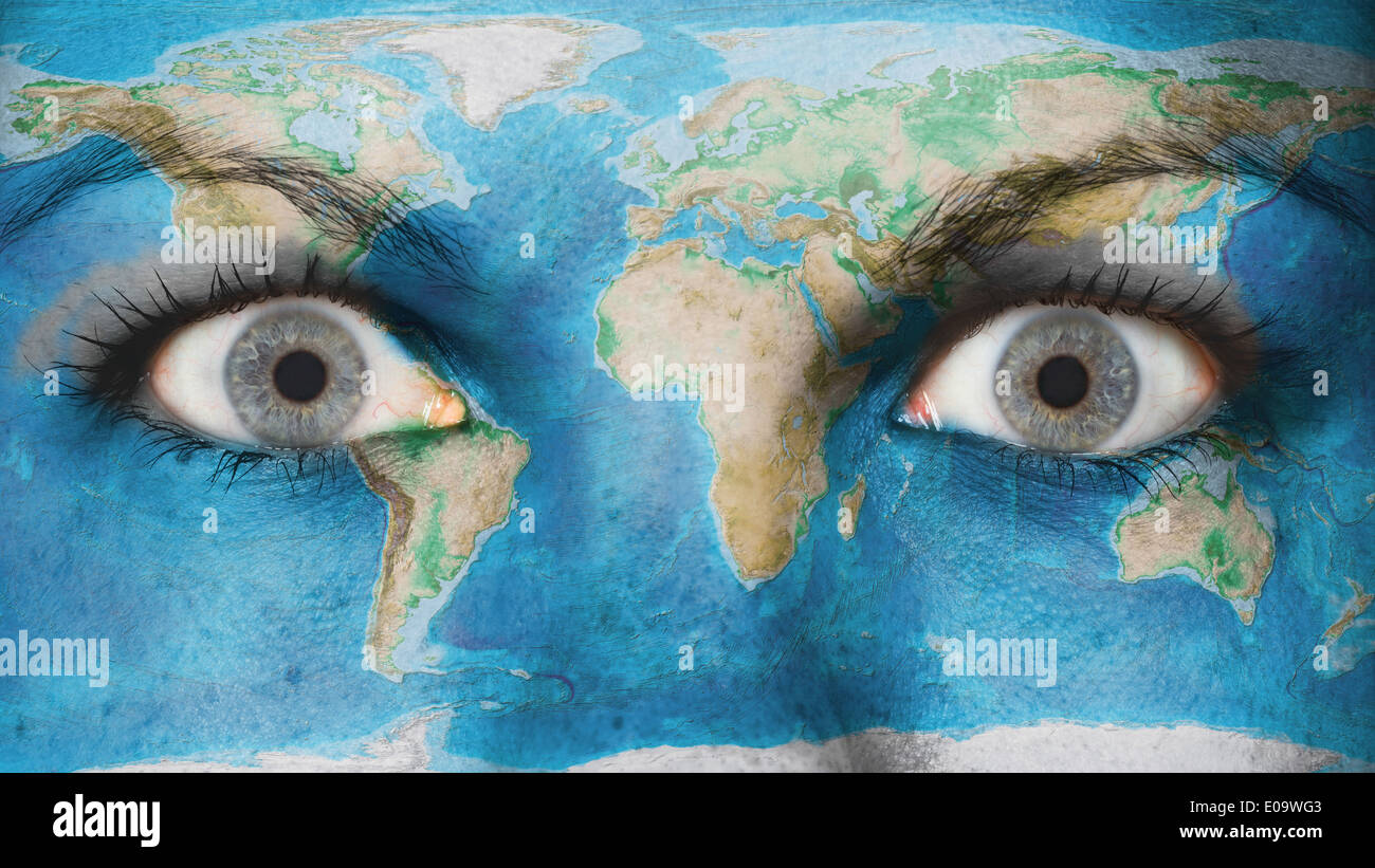 Women Eye Close Up Eyes Wide Open World Map Stock Photo 69059091