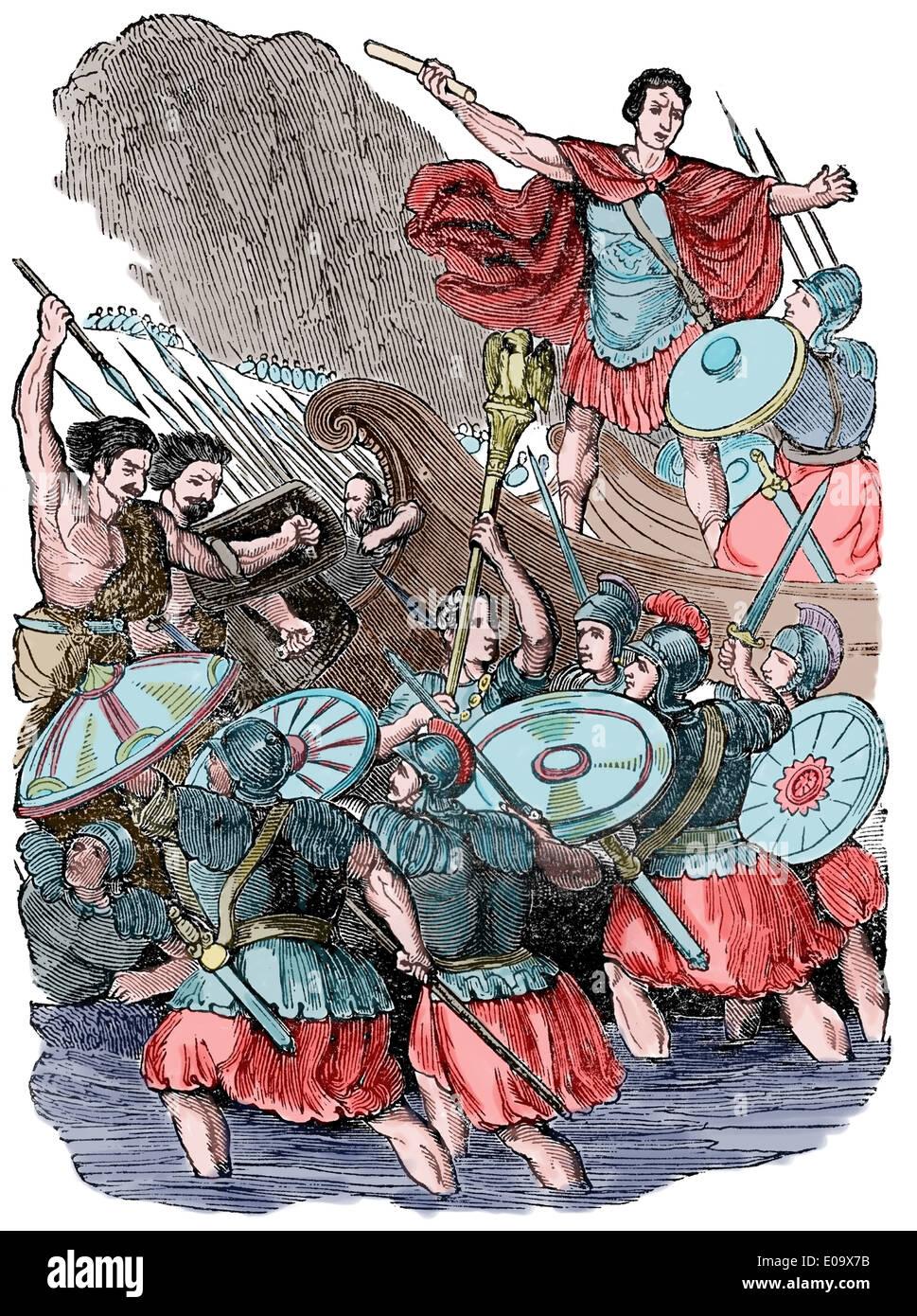 Invasion of Britain. Julius Caesar (100 BC-44 BC) in England. Disembark. Engraving. Color. - Stock Image