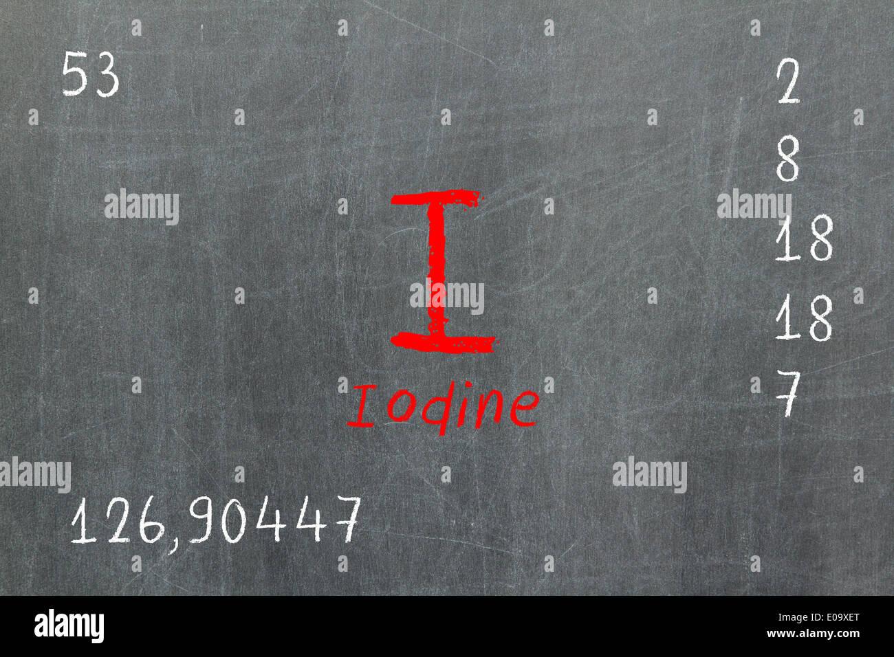 Isolated Blackboard With Periodic Table Iodine Chemistry Stock Photo