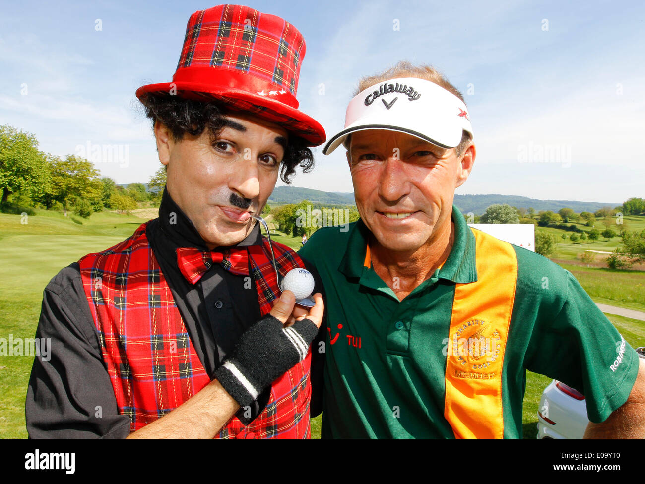 Herbolzheim, Germany - May 5, 2014: Eagles Charity Golf Cup and Gala at Golfclub Breisgau and Europa Park, Rust with Actor Michael Lesch and Charly Credit:  dpa picture alliance/Alamy Live News - Stock Image