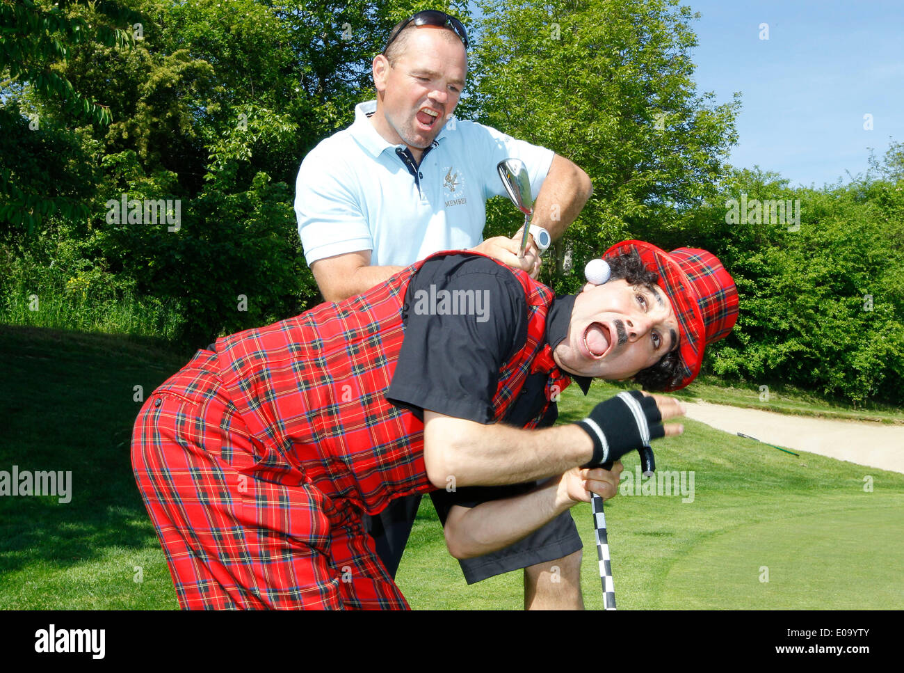 Herbolzheim, Germany - May 5, 2014: Eagles Charity Golf Cup and Gala at Golfclub Breisgau and Europa Park, Rust with ex Boxer Sven Ottke and Charly Credit:  dpa picture alliance/Alamy Live News - Stock Image