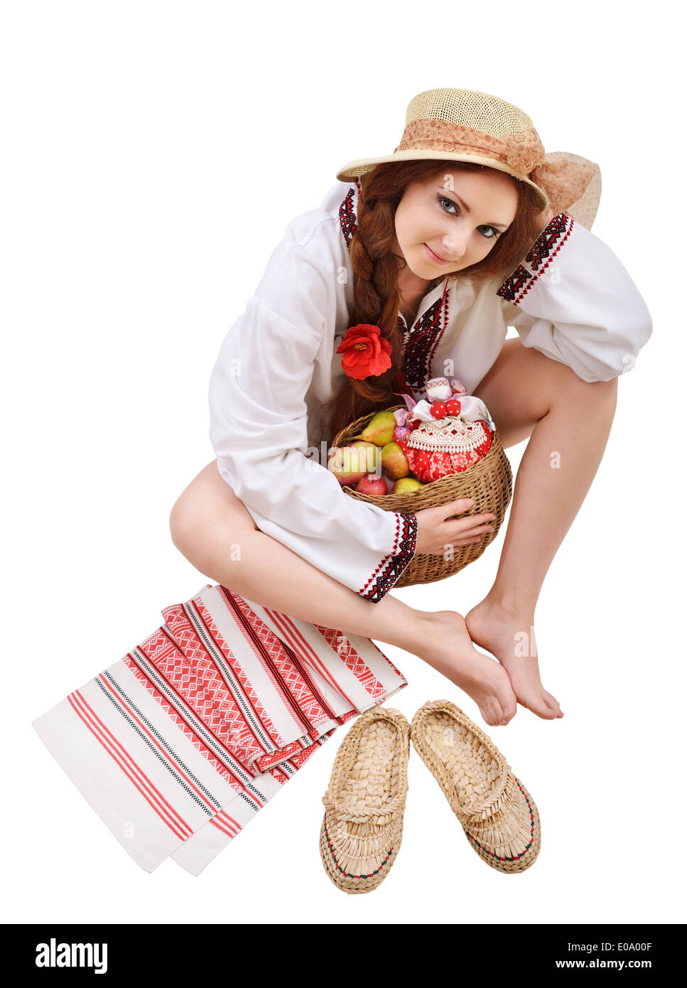 Happy Ukrainian woman with amulets Stock Photo
