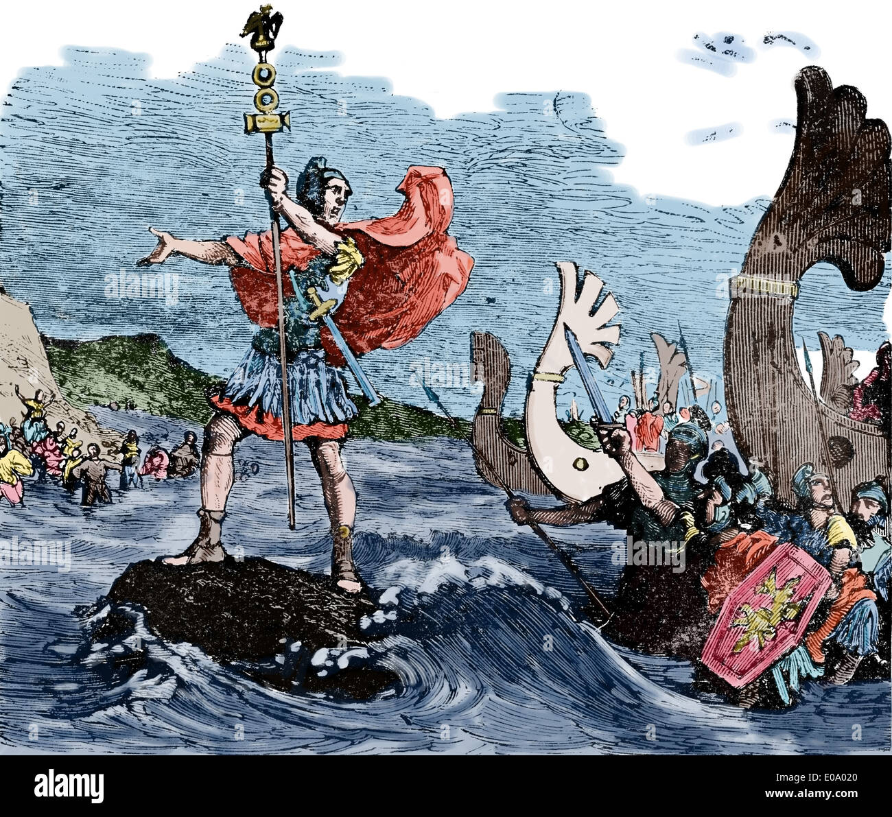 Invasion of Britain. Julius Caesar (100 Bc-44 BC) . Soldiers embarked commanded ships. Colored engraving. - Stock Image
