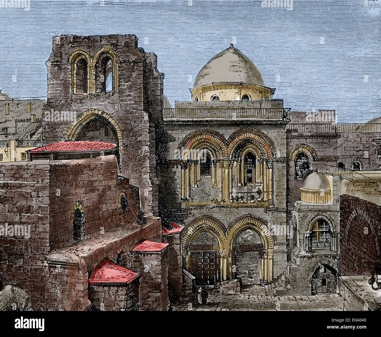 Jerusalem. Holy Sepulchre. Exterior. Young people's History of the World, 1897. Engraving. Later colouration. - Stock Image